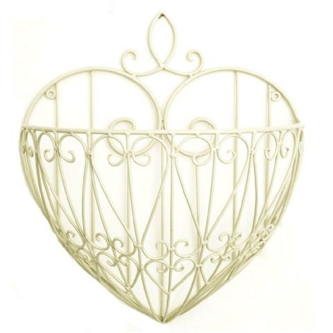 Cream Hanging Heart Wall Planter Basket